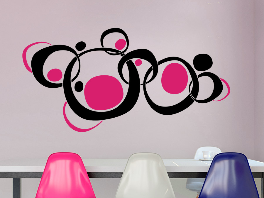 wandtattoo retroornament circles wandtattoo de. Black Bedroom Furniture Sets. Home Design Ideas