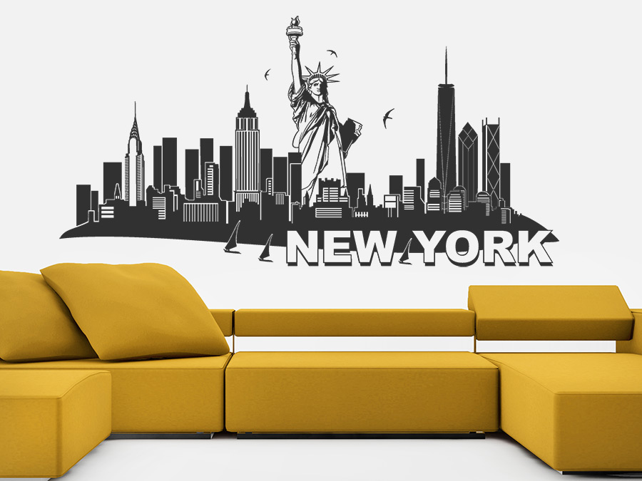 wandtattoo new york mit freiheitsstatue skyline. Black Bedroom Furniture Sets. Home Design Ideas