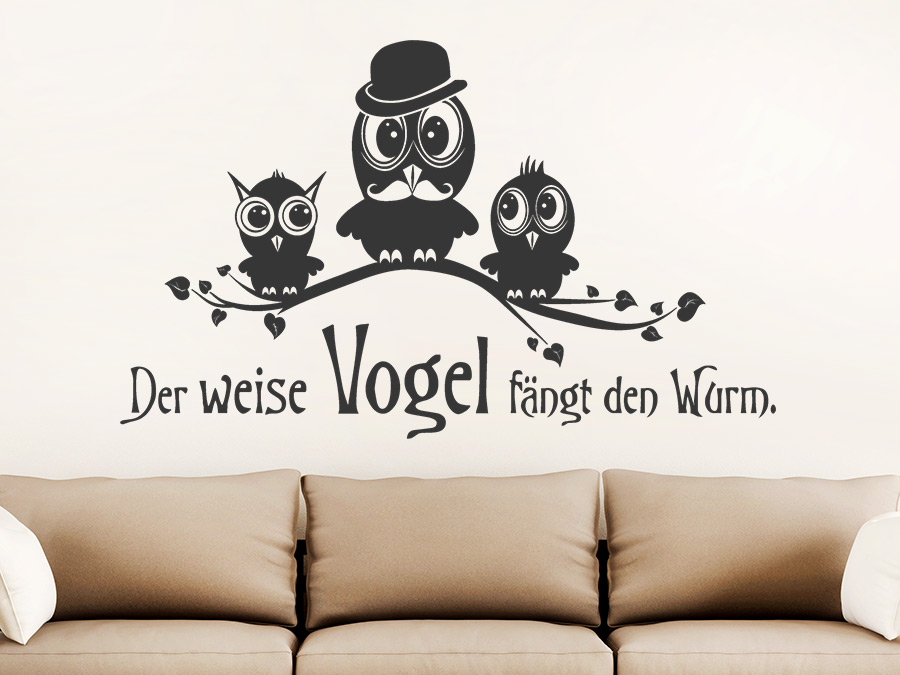 wandtattoo der weise vogel f ngt den wurm wandtattoo de. Black Bedroom Furniture Sets. Home Design Ideas