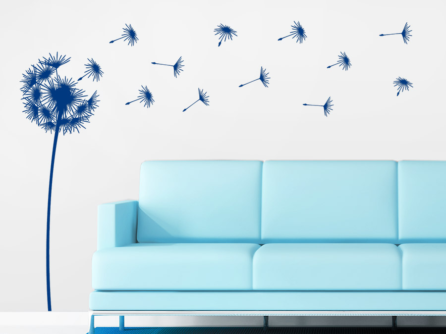 wandtattoo flauschige pusteblume mit schirmchen. Black Bedroom Furniture Sets. Home Design Ideas