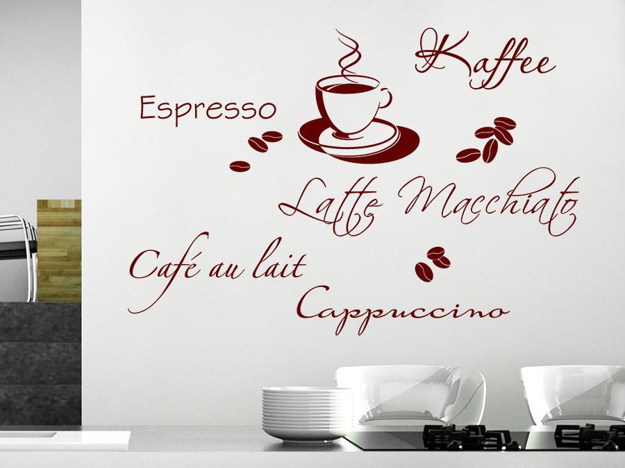 Wandtattoo Kaffeetasse mit Bohnen Kaffeesorten | Wandtattoos.de
