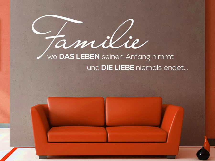 Wandtattoo Familie... Spruch von Wandtattoo.de