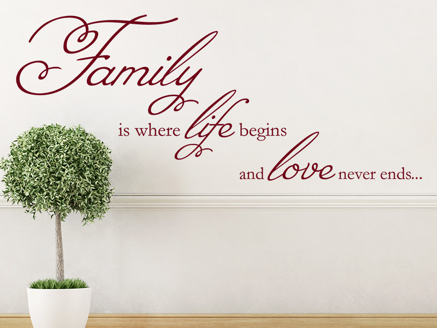 Wandtattoo family is where life begins von for Jugendzimmer englisch