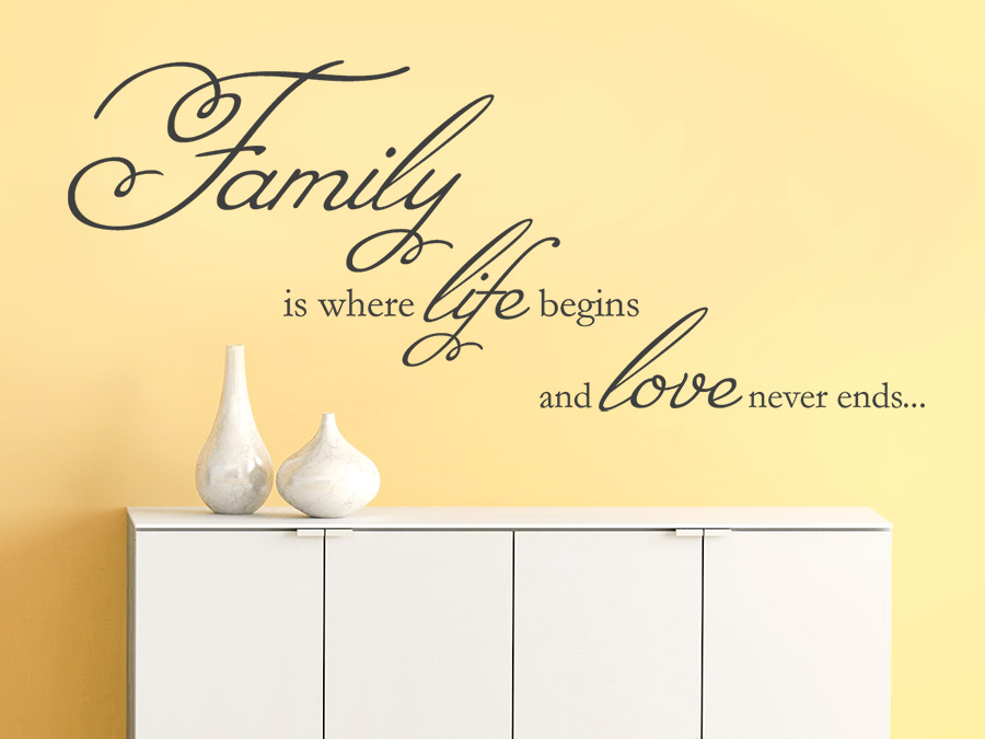 Wandtattoo family is where life begins von - Wandtattoo spruche leben ...