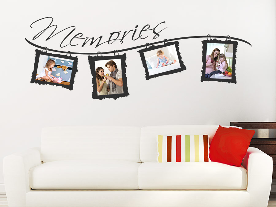 wandtattoo foto memories mit fotorahmen wandtattoo de. Black Bedroom Furniture Sets. Home Design Ideas