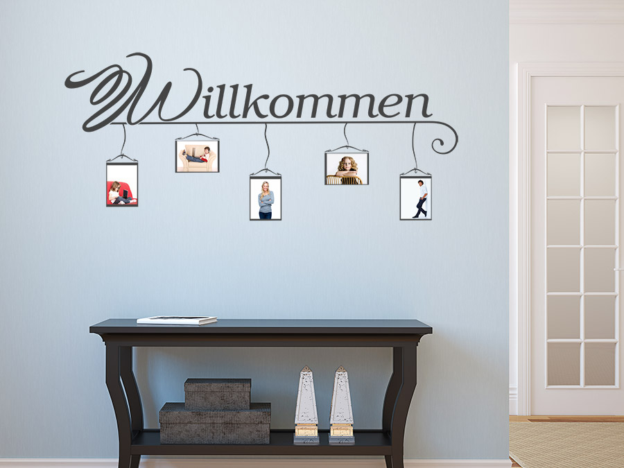 wandtattoo willkommen mit bilderrahmen bei. Black Bedroom Furniture Sets. Home Design Ideas