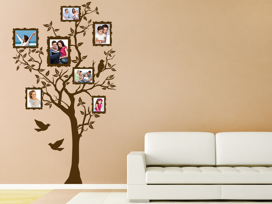 wandtattoo baum f r fotos mit fotorahmen wandtattoo de. Black Bedroom Furniture Sets. Home Design Ideas