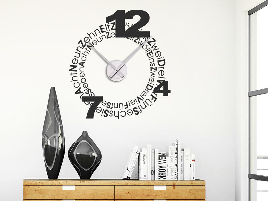 uhr mit schrift wandtattoo uhr mit schrift home clocktwo die uhr ohne zeiger klonblog. Black Bedroom Furniture Sets. Home Design Ideas