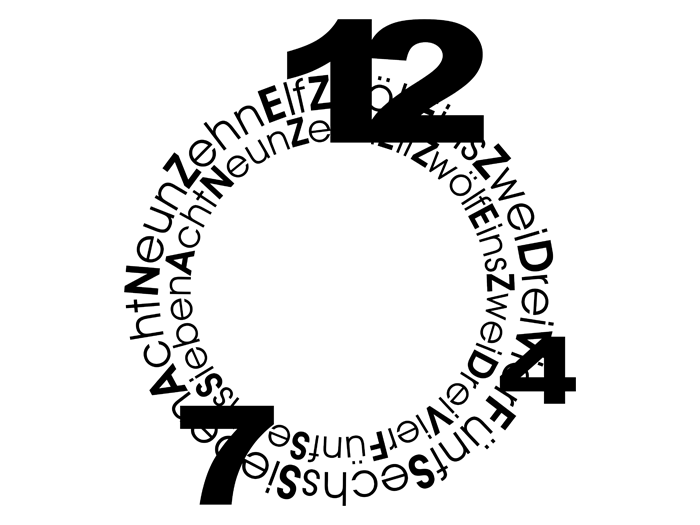 Ansicht Uhr Geschriebene Zahlen als Wandtattoo