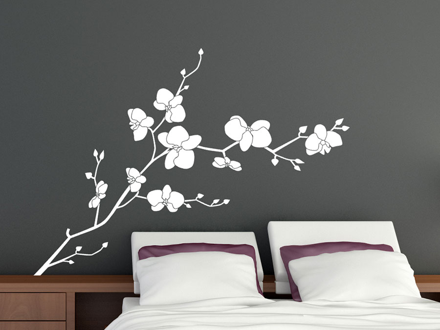 wandtattoo zweig wilder orchideen bei. Black Bedroom Furniture Sets. Home Design Ideas