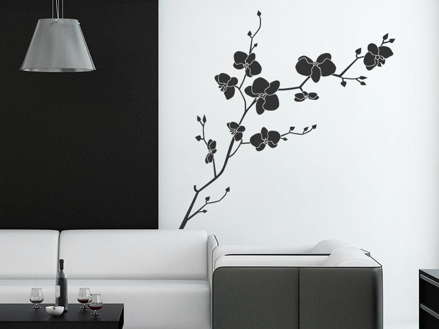 unser wildes wohnzimmer: unser detailreich designtes Wandtattoo Wilde Orchidee ein ganz