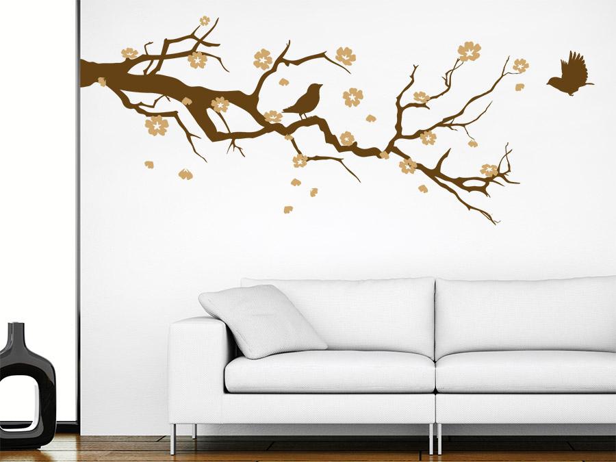 wandtattoo kirschbl tenzweig mit v gel. Black Bedroom Furniture Sets. Home Design Ideas