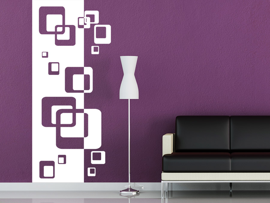 wandtattoo banner mit retro cubes wandbanner wandtattoo de. Black Bedroom Furniture Sets. Home Design Ideas
