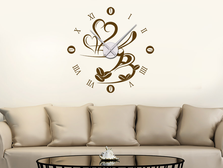 wandtattoo uhr mit kaffetasse bei. Black Bedroom Furniture Sets. Home Design Ideas