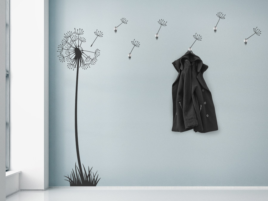 wandtattoo garderobe pusteblume im wind bei. Black Bedroom Furniture Sets. Home Design Ideas