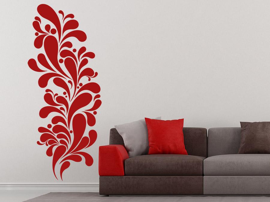 Wandtattoo Wohnzimmer Retro : Retro Tropfen Wandtattoo Ornament in rot ...