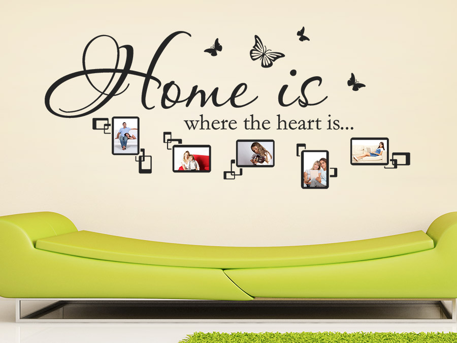 wandtattoo fotorahmen home is where the heart is wandtattoo de. Black Bedroom Furniture Sets. Home Design Ideas