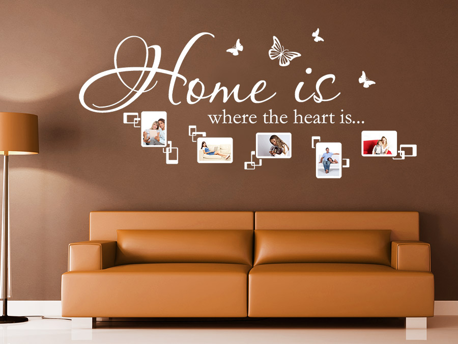 wandtattoo home is where the heart is fotorahmen. Black Bedroom Furniture Sets. Home Design Ideas