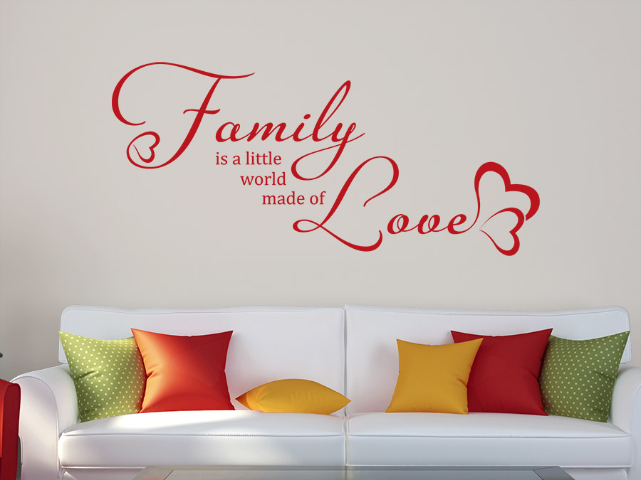 wandtattoo family made of love bei. Black Bedroom Furniture Sets. Home Design Ideas
