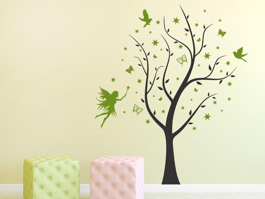 Wandtattoo Verzauberter Baum mit Feen bei Homesticker.de