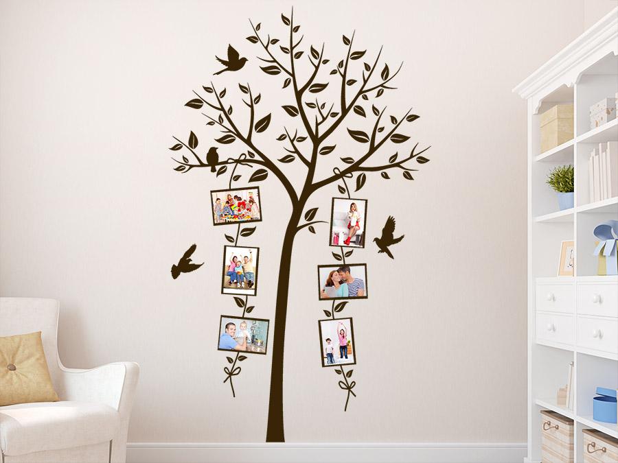 wandtattoo dekorativer fotorahmen baum im wohnzimmer - Wandtattoo Wohnzimmer Baum