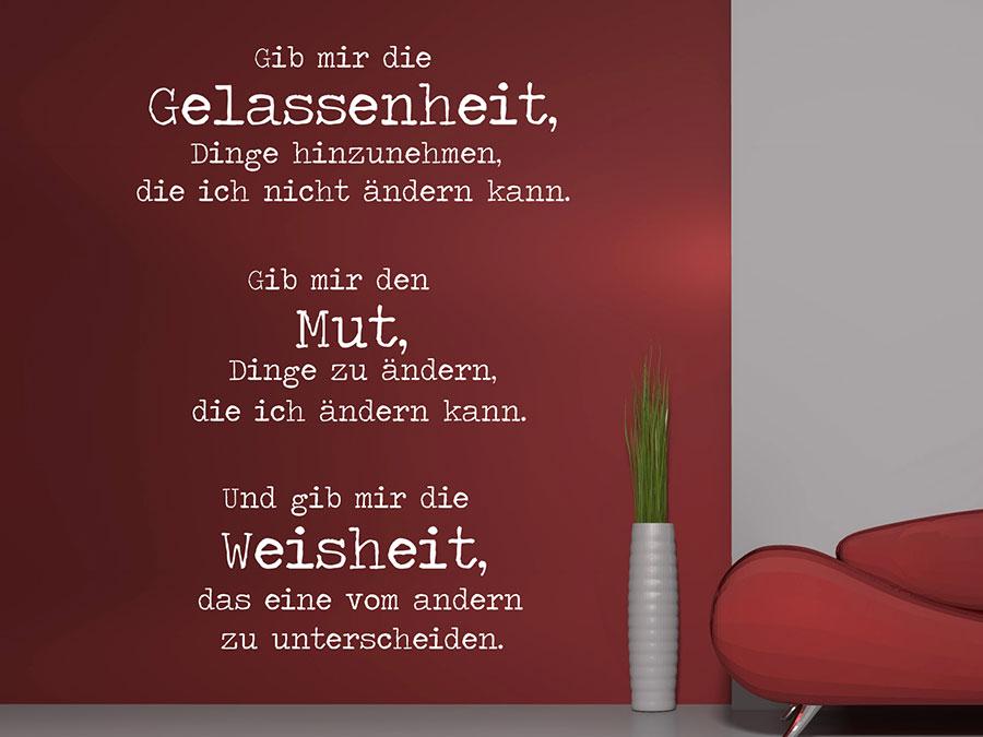 Wandtattoo Gelassenheit Mut Weisheit von Wandtattoo.de