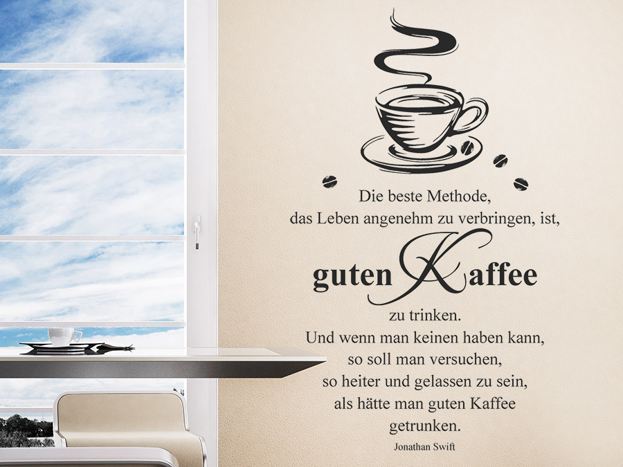 wandtattoo guten kaffee trinken wandtattoo de. Black Bedroom Furniture Sets. Home Design Ideas