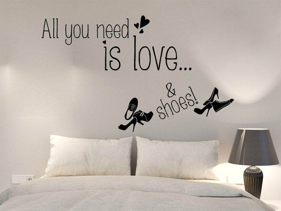 wandtattoo love and shoes all you need is love. Black Bedroom Furniture Sets. Home Design Ideas