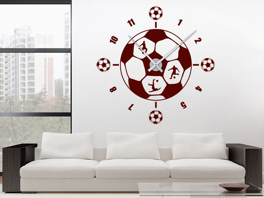 wandtattoo uhr fu ball wanduhr wandtattoo de. Black Bedroom Furniture Sets. Home Design Ideas