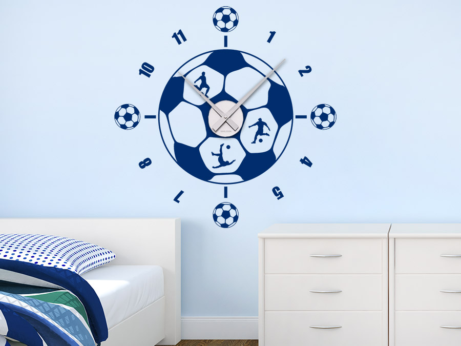 Wandtattoo uhr fu ball wanduhr wandtattoo de for Fussball kinderzimmer