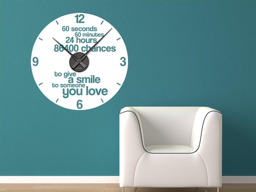 wandtattoo smile - don't forget to smile | wandtattoo.de - Wohnzimmer Uhren Modern