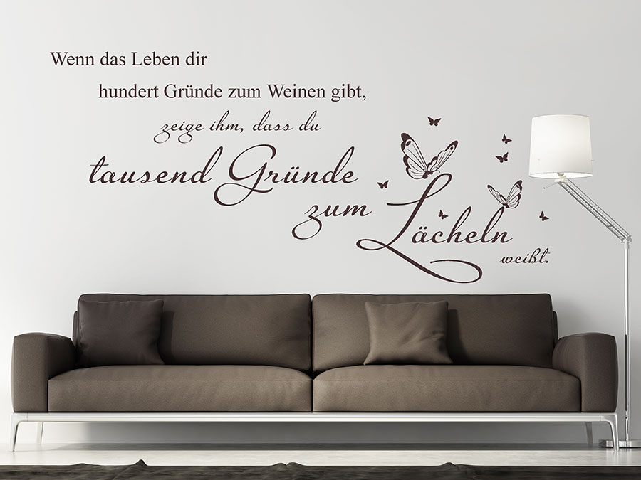 wandtattoo wenn das leben dir tausend gr nde. Black Bedroom Furniture Sets. Home Design Ideas