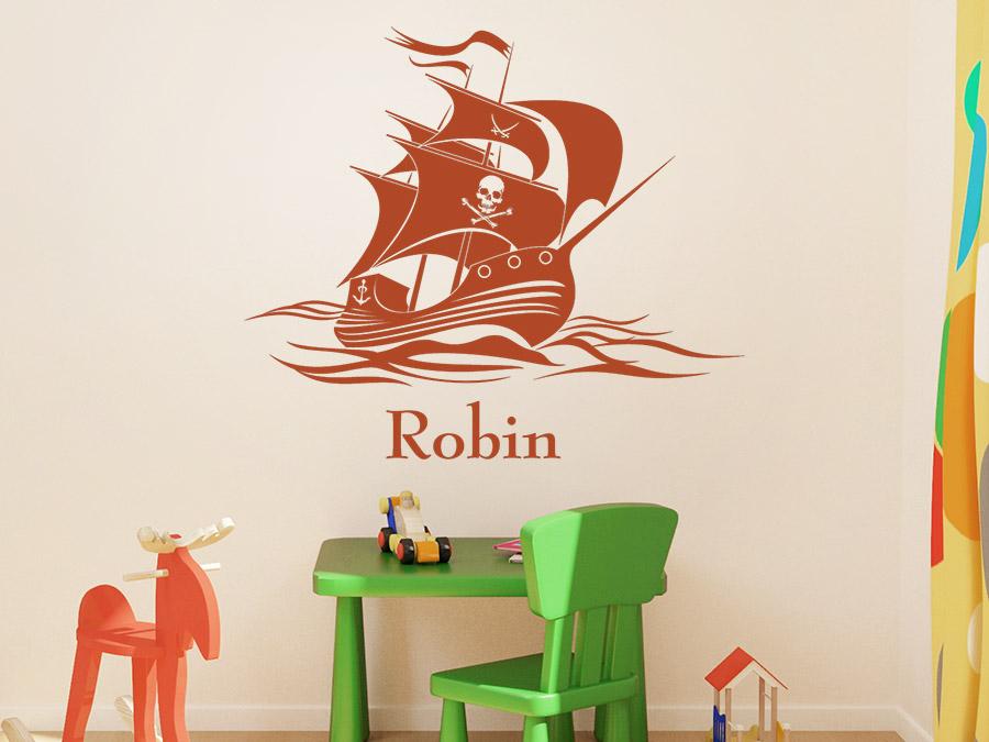 wandtattoo piratenschiff auf hoher see mit name. Black Bedroom Furniture Sets. Home Design Ideas