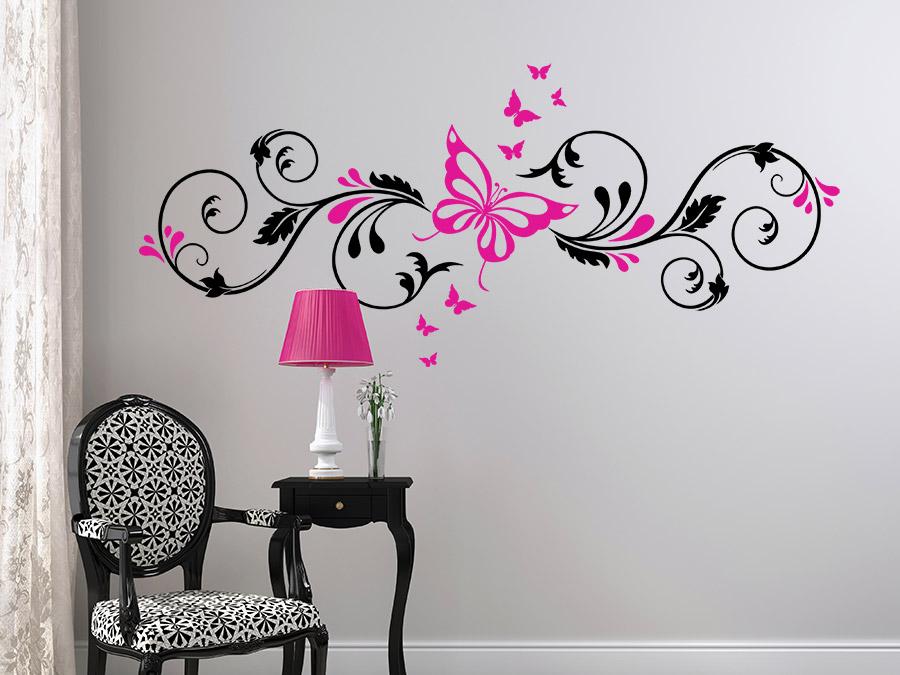 wandtattoo zweifarbiges schmetterlingsornament von. Black Bedroom Furniture Sets. Home Design Ideas