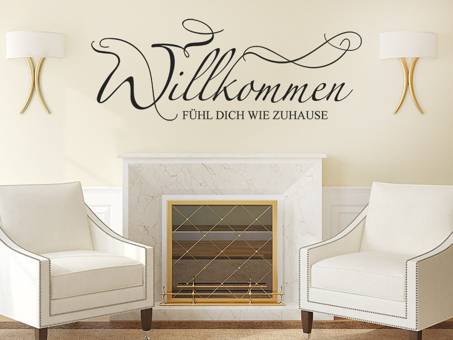 wandtattoo f hl dich wie zuhause willkommen wandtattoo de. Black Bedroom Furniture Sets. Home Design Ideas