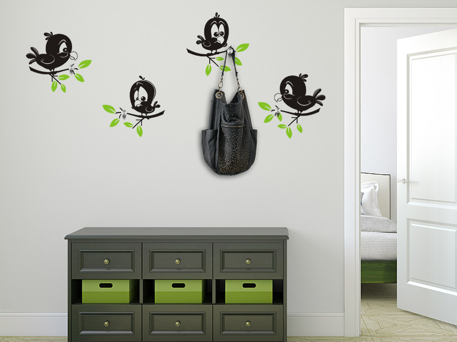 wandtattoo garderobe s e vogelkarikaturen bei. Black Bedroom Furniture Sets. Home Design Ideas
