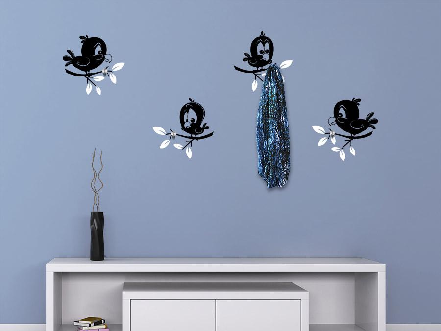 wandtattoo garderobe lustige v gel wandtattoo de. Black Bedroom Furniture Sets. Home Design Ideas