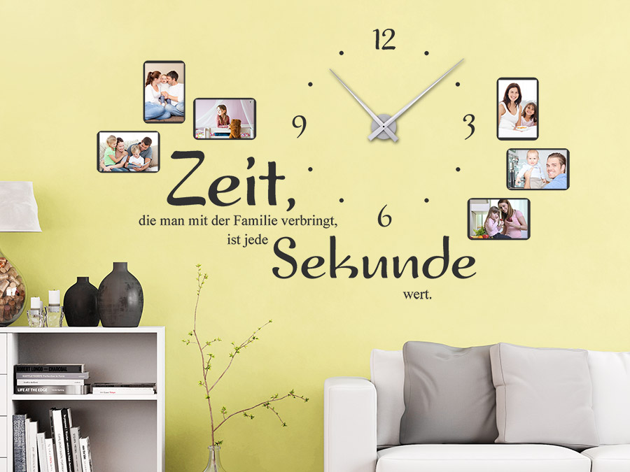 wandtattoo uhr familienzeit mit fotorahmen wandtattoo de. Black Bedroom Furniture Sets. Home Design Ideas