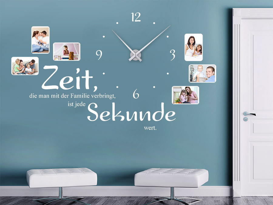 Wandtattoo Uhr Familienzeit mit Fotorahmen | WANDTATTOO.DE