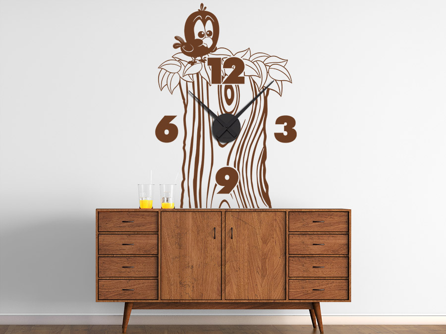 wandtattoo uhr baumstamm mit vogel s e wanduhr. Black Bedroom Furniture Sets. Home Design Ideas