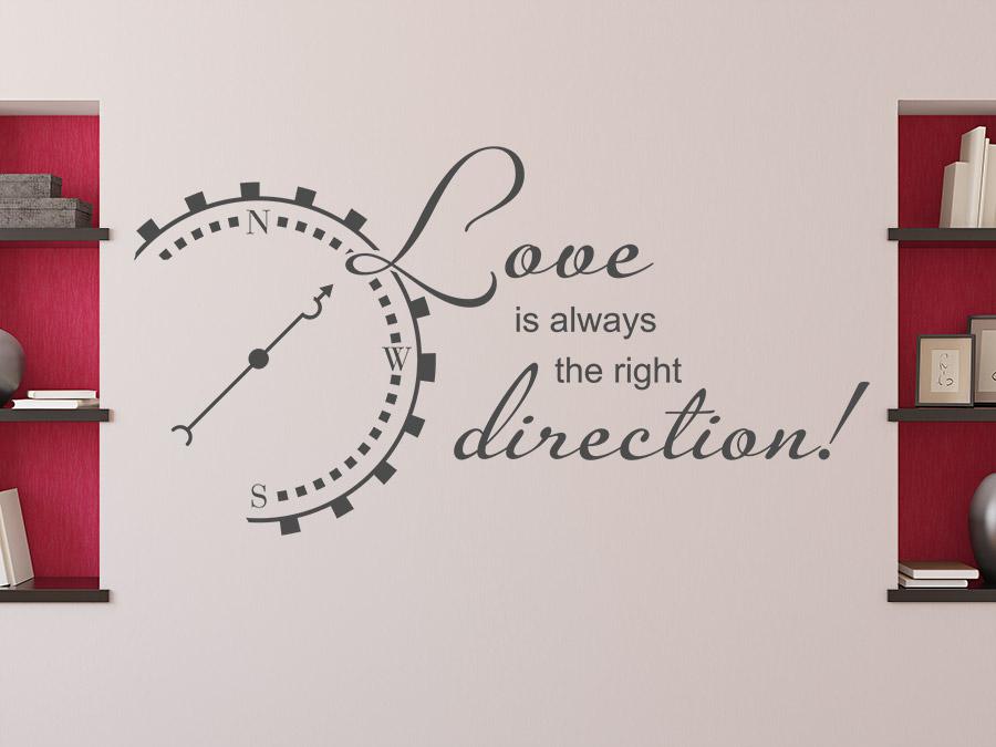 Wandtattoo love is always the right direction wandtattoo de - Wandtattoo kompass ...
