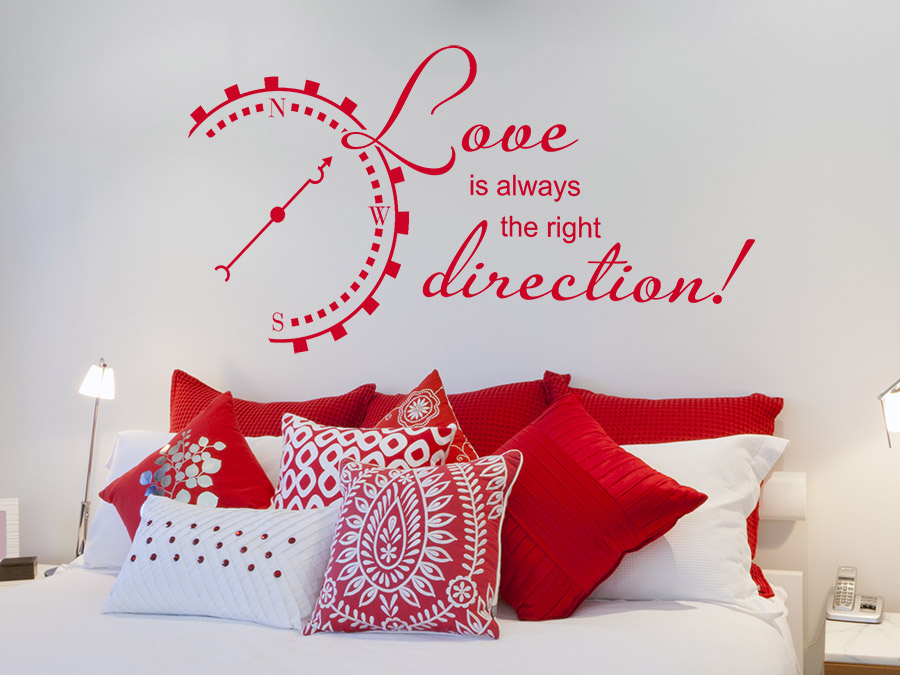 Wandtattoo love is always the right direction wandtattoo de for Romantische stimmung im schlafzimmer