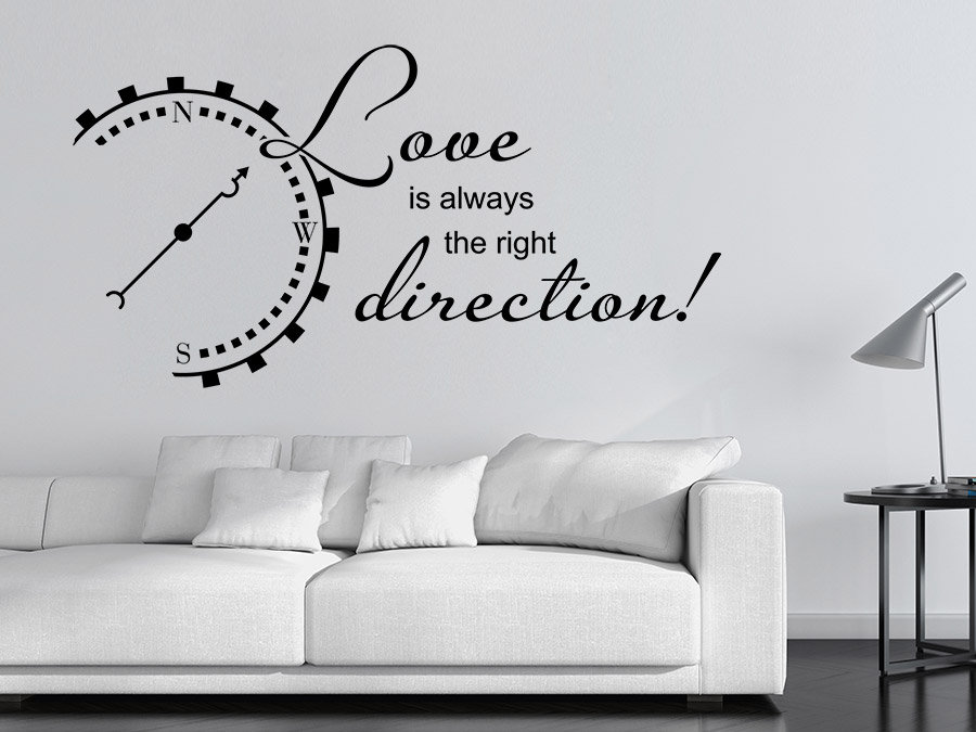 Wandtattoo love is always the right direction wandtattoo de for Jugendzimmer englisch