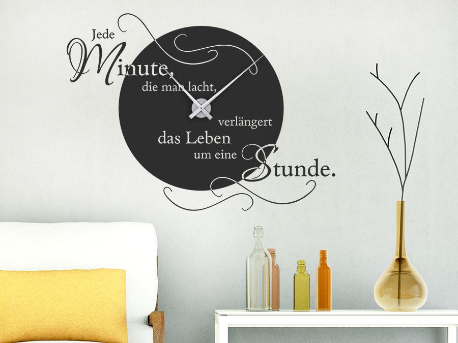 Wandtattoo Uhr Jede Minute, die man lacht | WANDTATTOO.DE