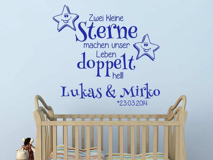 Wandtattoo Zwillinge Zwei kleine Sterne... | WANDTATTOO.DE