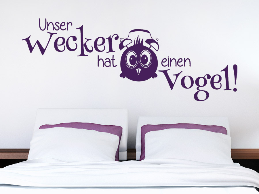 wandtattoo unser wecker hat einen vogel wandtattoo de. Black Bedroom Furniture Sets. Home Design Ideas