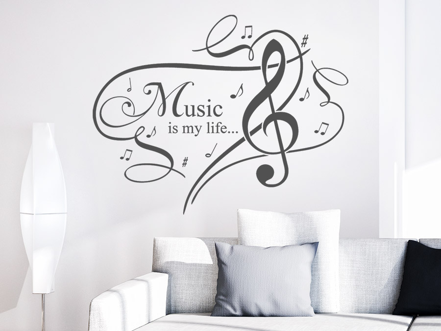 wandtattoo music is my life ornament wandtattoo de. Black Bedroom Furniture Sets. Home Design Ideas