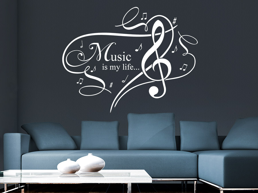 wandtattoo music is my life ornament wandtattoo de. Black Bedroom Furniture Sets. Home Design Ideas
