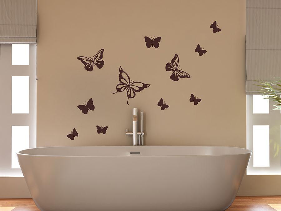 wandtattoo dekorative schmetterlinge buntes set. Black Bedroom Furniture Sets. Home Design Ideas