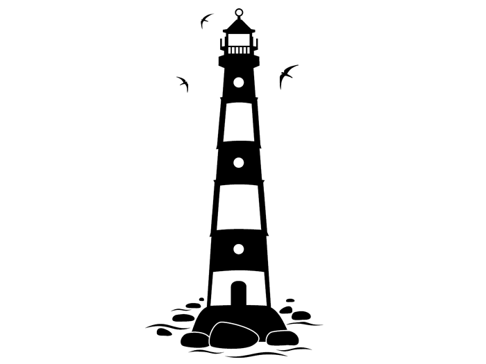 Ansicht Nordsee Leuchtturm als Wandtattoo